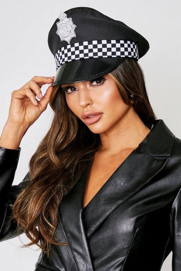 Womens Black Police Hat