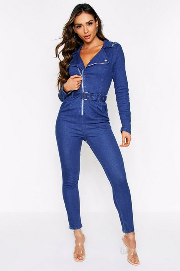 Womens Denim Long Sleeve Jumpsuit
