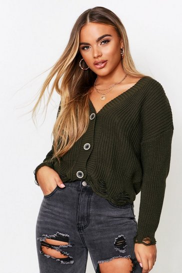 Womens Khaki Distressed Hem Oversized Knitted Cardigan