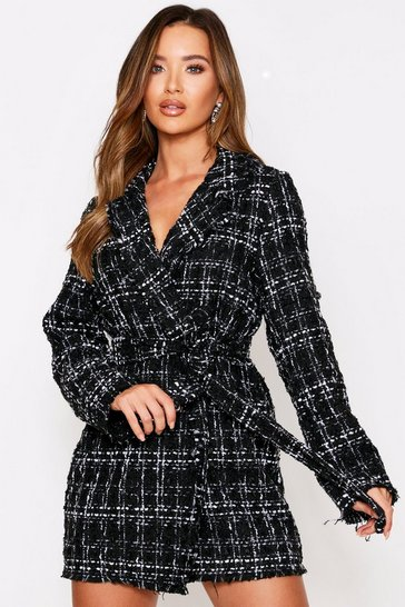 Womens Black Boucle Wrap Blazer