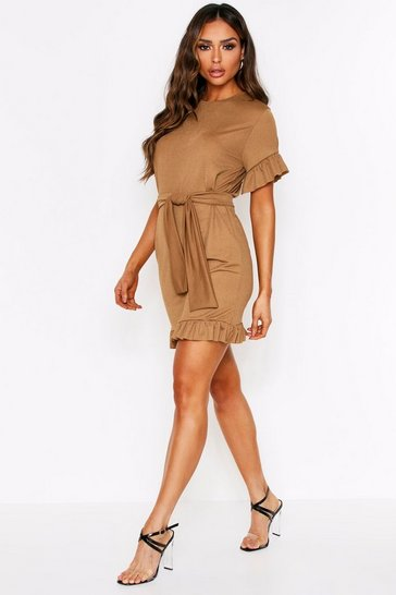 Camel Frill Hem Belted Crepe Dress