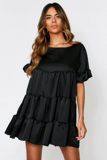 Womens Black Satin Frill Layered Dress