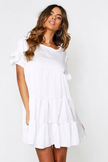 Cream Satin Frill Layered Dress