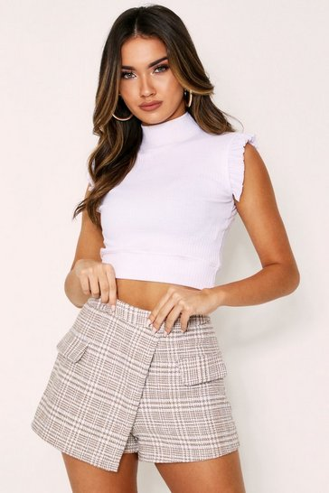 Womens Stone Wool Look Checked Skort