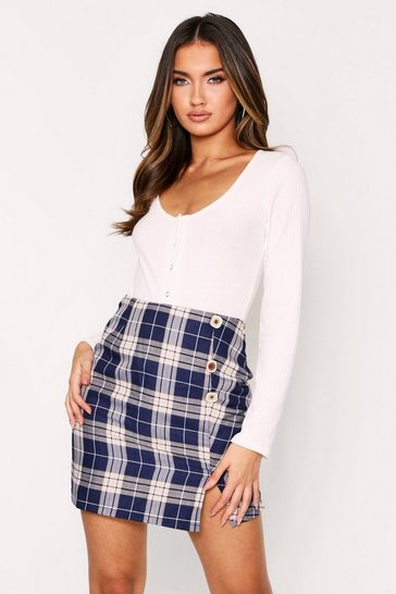 Womens Navy Button Detail Checked Mini Skirt