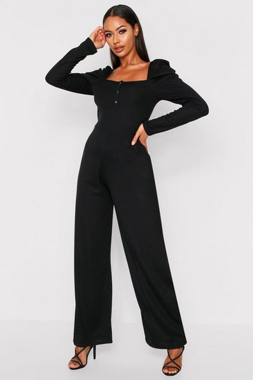 Black Rib Puff Sleeve Jumpsuit