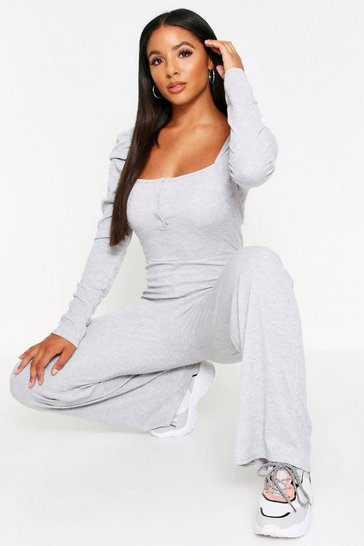 Womens Grey Rib Puff Sleeve Jumpsuit