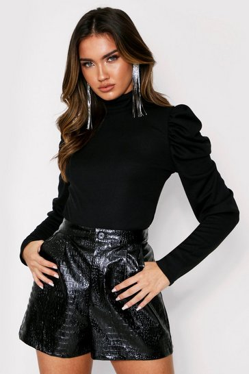 Black Puff Sleeve Rib Top