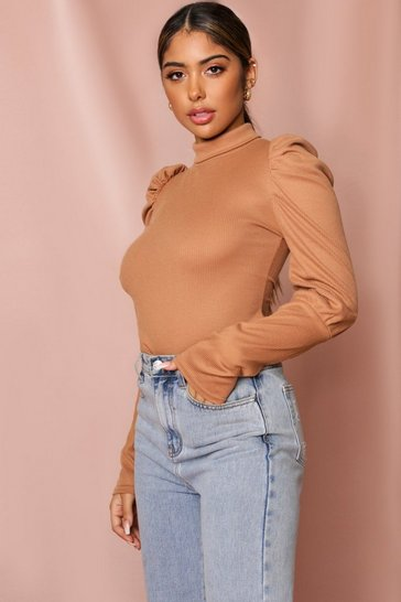Womens Camel Puff Sleeve Rib Top