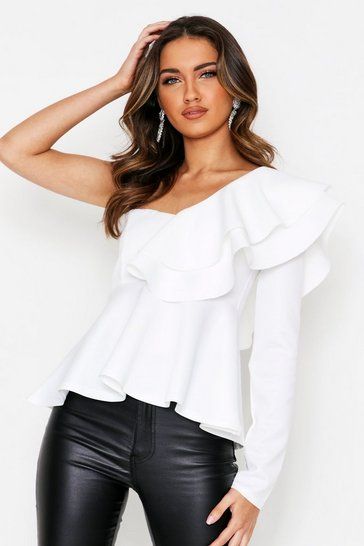 Womens Cream Scuba One Shoulder Ruffle Top