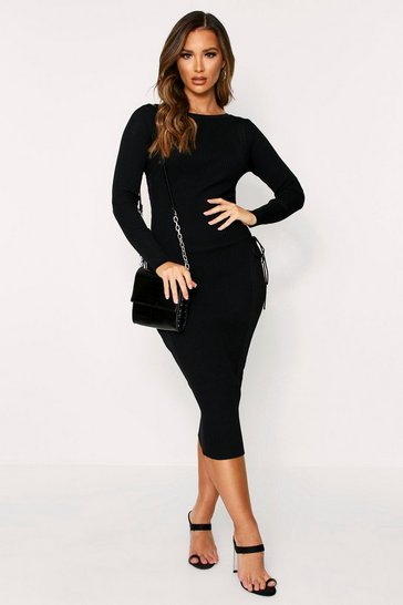 Womens Black Bandage Knit Lace Up Side Midaxi Dress