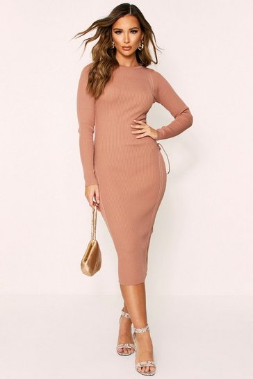 Camel Bandage Knit Lace Up Side Midi Dress