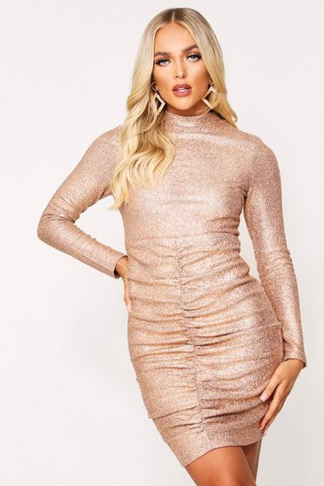 Gold Metallic High Neck Ruched Front Dress