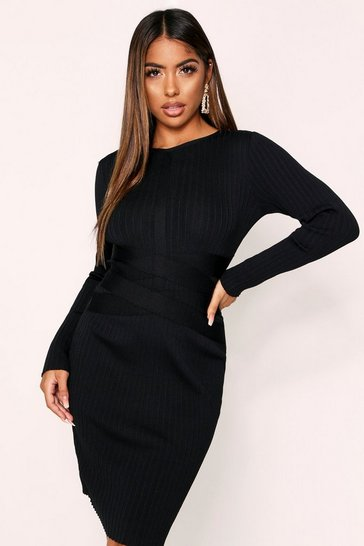 Black Bandage Knit Longsleeve Dress
