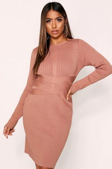 Camel Bandage Knit Longsleeve Dress