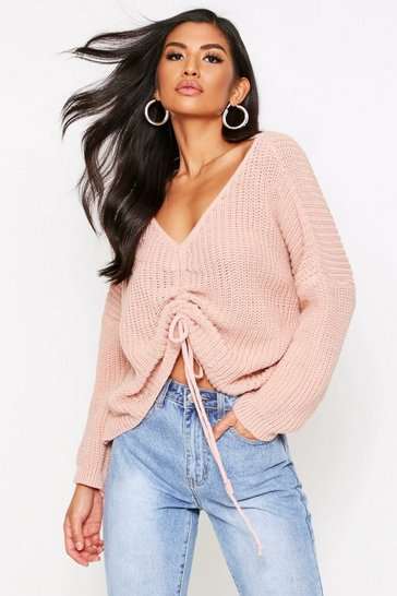 Womens Blush Ruched Front Jumper