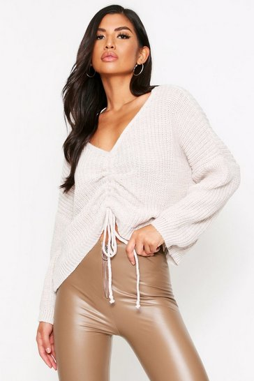 Womens Cream Ruched Front Jumper