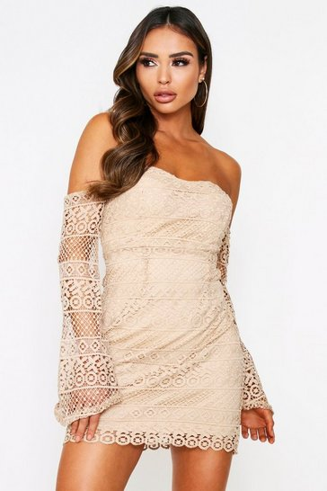 Womens Beige Lace Bardot Dress
