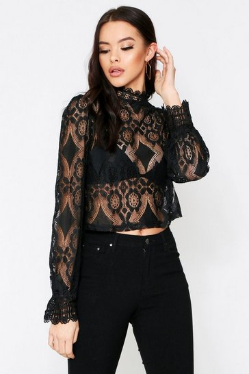 Black High Neck Lace Top
