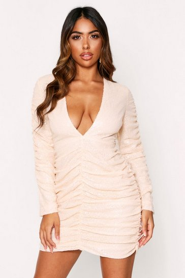 Womens Nude Sequin Ruched Sleeve Plunge Dress