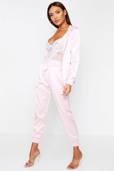 Pink Satin Hooded Loungewear Set