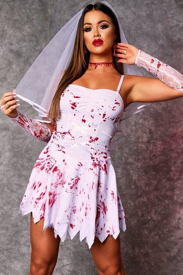White Bloody Bride Halloween Costume
