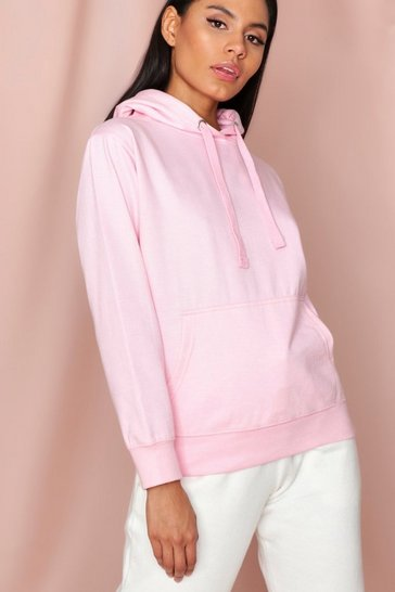 Baby pink Fleece Back Basic Hooded Sweatshirt