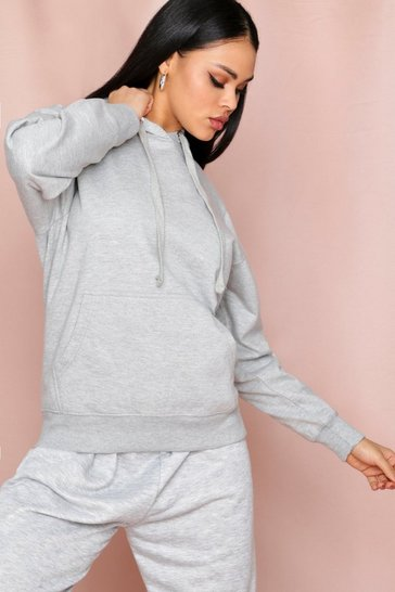 Grey marl Fleece Back Basic Hooded Sweater