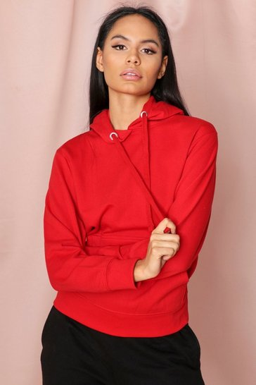 Red Fleece Back Basic Hooded Sweatshirt