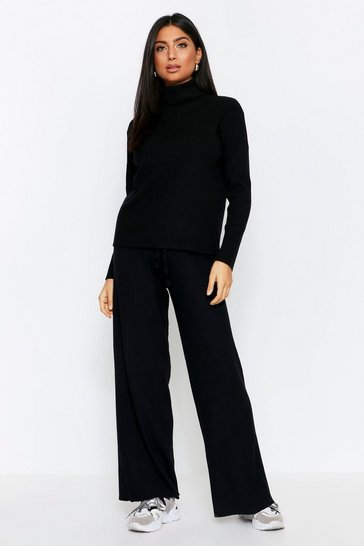 Black Premium Turtle Neck Rib Knitted Set
