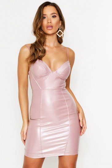 Pink Faux Leather Cupped Bodycon Dress