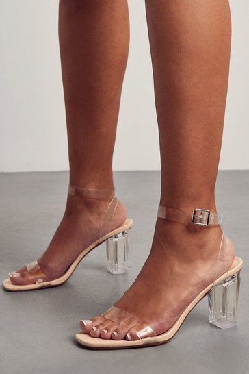 Nude Middle Clear Block Heel