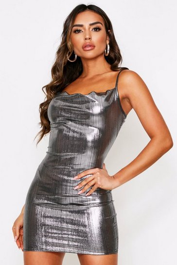 Womens Silver Foil Cowl Neck Mini Dress