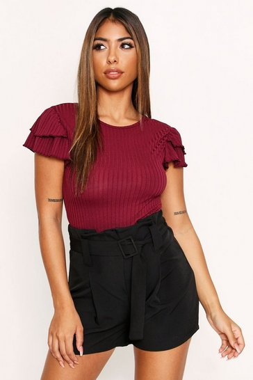 Womens Wine Plunge Back Ruffle Sleeve Bodysuit