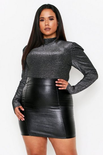 Womens Black Sparkle Puff Sleeve High Neck Bodysuit