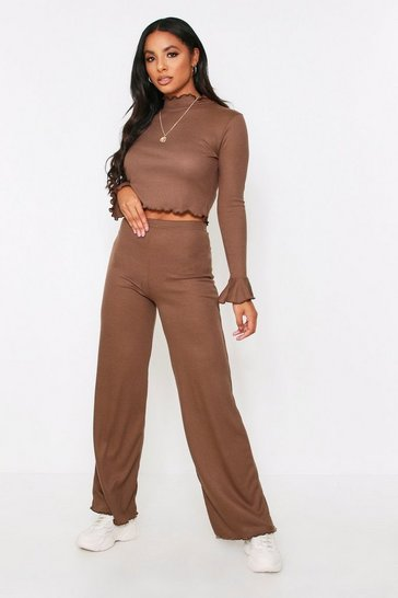 Womens Chocolate Lettuce Hem Lounge Set