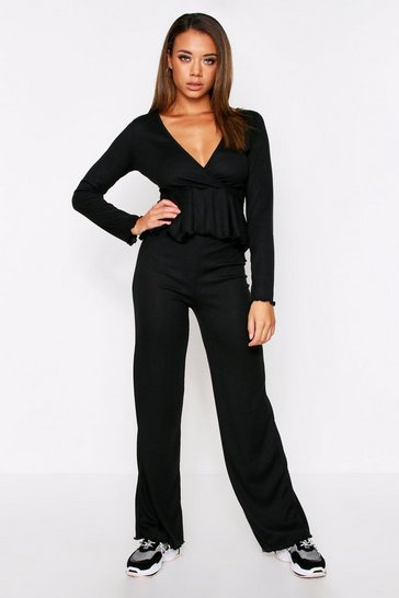 Womens Black Peplum Wrap Lounge Set (Wide Leg)