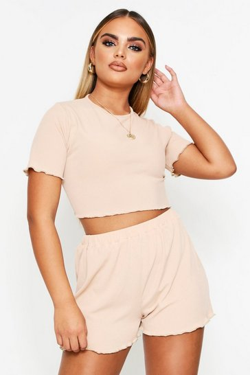 Camel Lettuce Hem T-Shirt + Shorts Ribbed Co-Ord