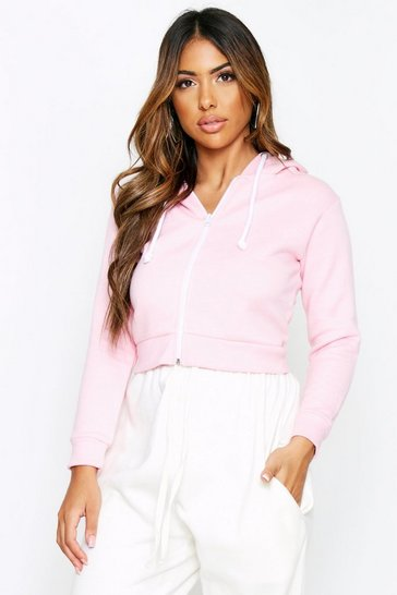 Baby pink Fleece Back Zip Front Cropped Hoodie