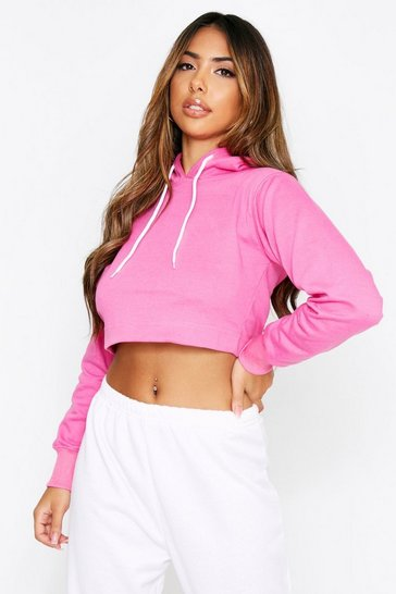 Pink Fleece Back Cropped Hoodie