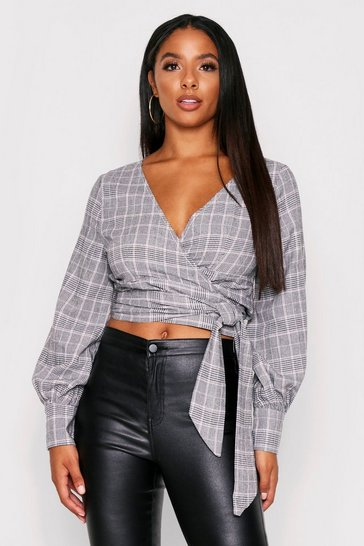 Grey Checked Balloon Sleeve Wrap Top
