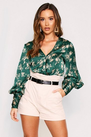 Green Floral Satin Wrap Thong Bodysuit