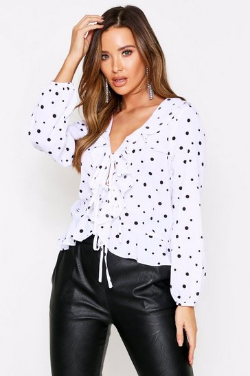 White Polka Dot Frill Detail Tie Front Top