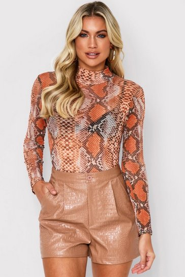 Womens Orange Snake Print Mesh Bodysuit