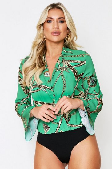 Womens Green Chain Print Wrap Plunge Bodysuit