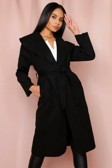 Black Longline Waterfall Coat