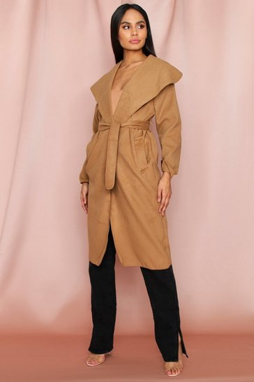 Womens Camel Longline Waterfall Coat