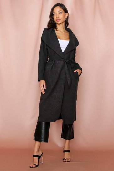 Womens Charcoal Longline Waterfall Coat