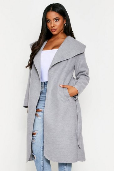 Womens Light grey Longline Waterfall Coat