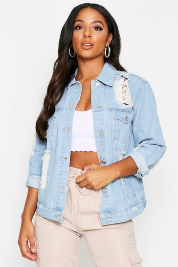 Womens Light blue Distressed Denim Jacket